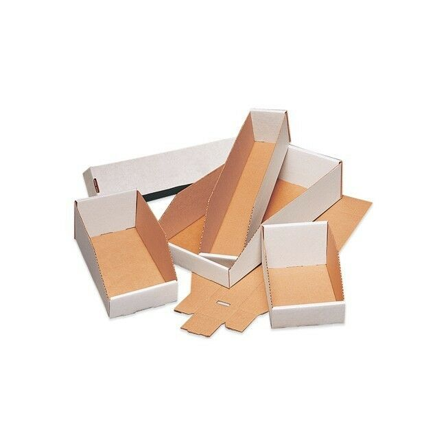 "Parts Bin Box - Cardboard - White - 4"" W x 12"" L x 4.5"" H"
