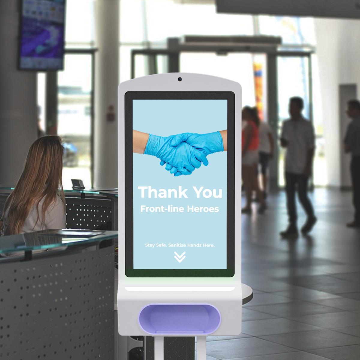 "EFlyn Sanitizer Kiosk with Temp Check - 21.5"""