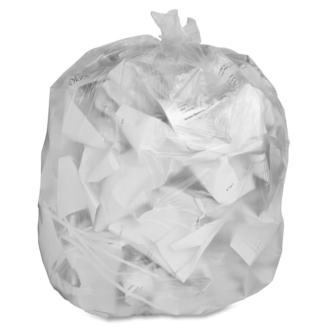 """Degradable Garbage Bag - 35"""" x 50"""" - Extra Strong, Clear - 100/cs"""