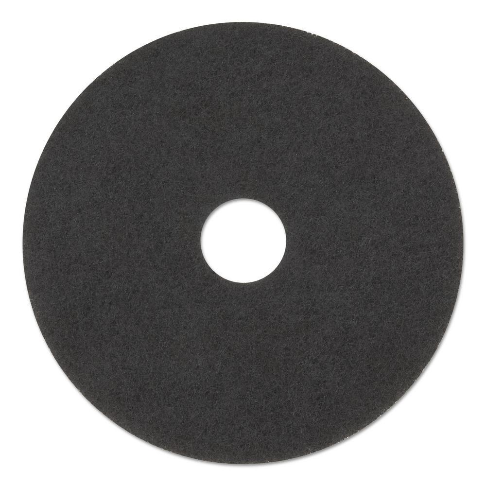 "Black Floor Scrubbing Pads - 14"""