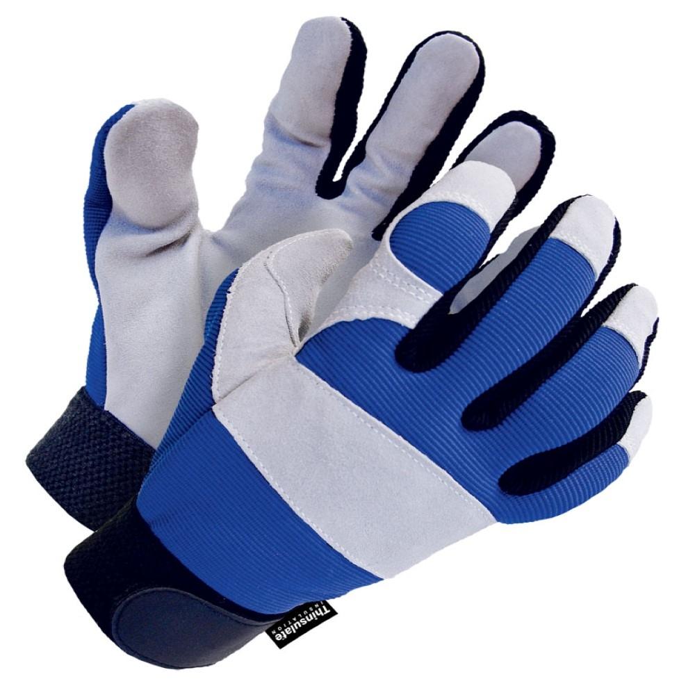 Gloves - Lined Split Cowhide Leather Winter Mechanics Gloves - M - (12/pk)