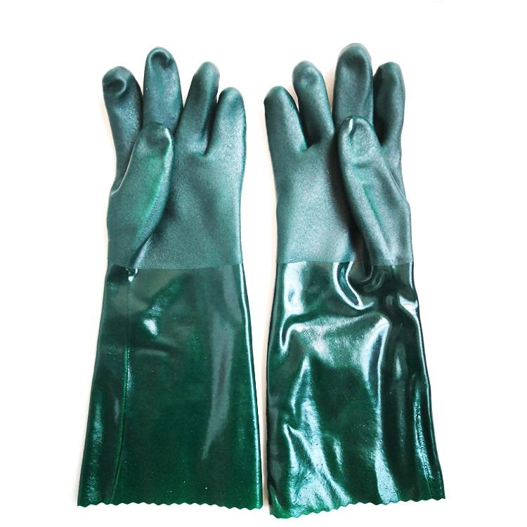 "Gloves - Premium PVC Coated Gauntlet 18"" Chemical Resistant Glove - Grn - O/S - (12/pk)"
