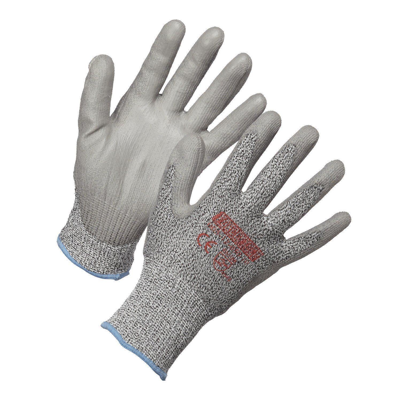 Gloves - Level 5 Cut Resistant Gloves, HPPE, Polyurethane Palm Coated - L