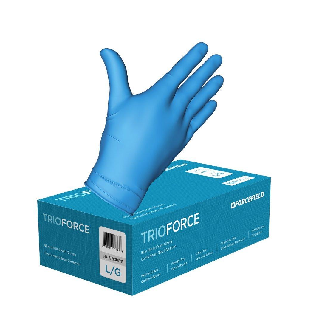 Gloves - TrioForce Nitrile Disposable Gloves 4 Mil - Blue - L - (100/b)
