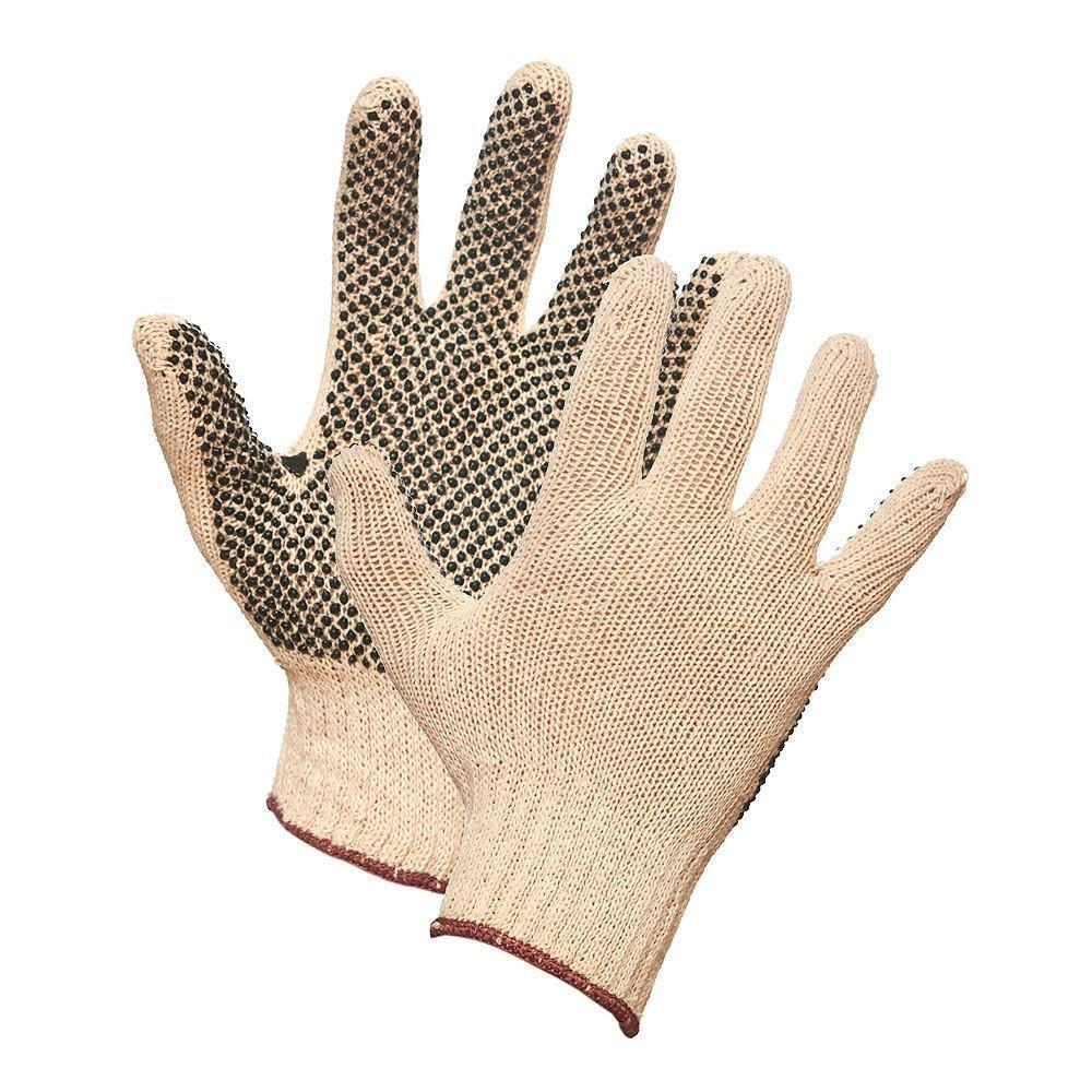 Gloves - String Knit Work Gloves with PVC Dots on Palm - L