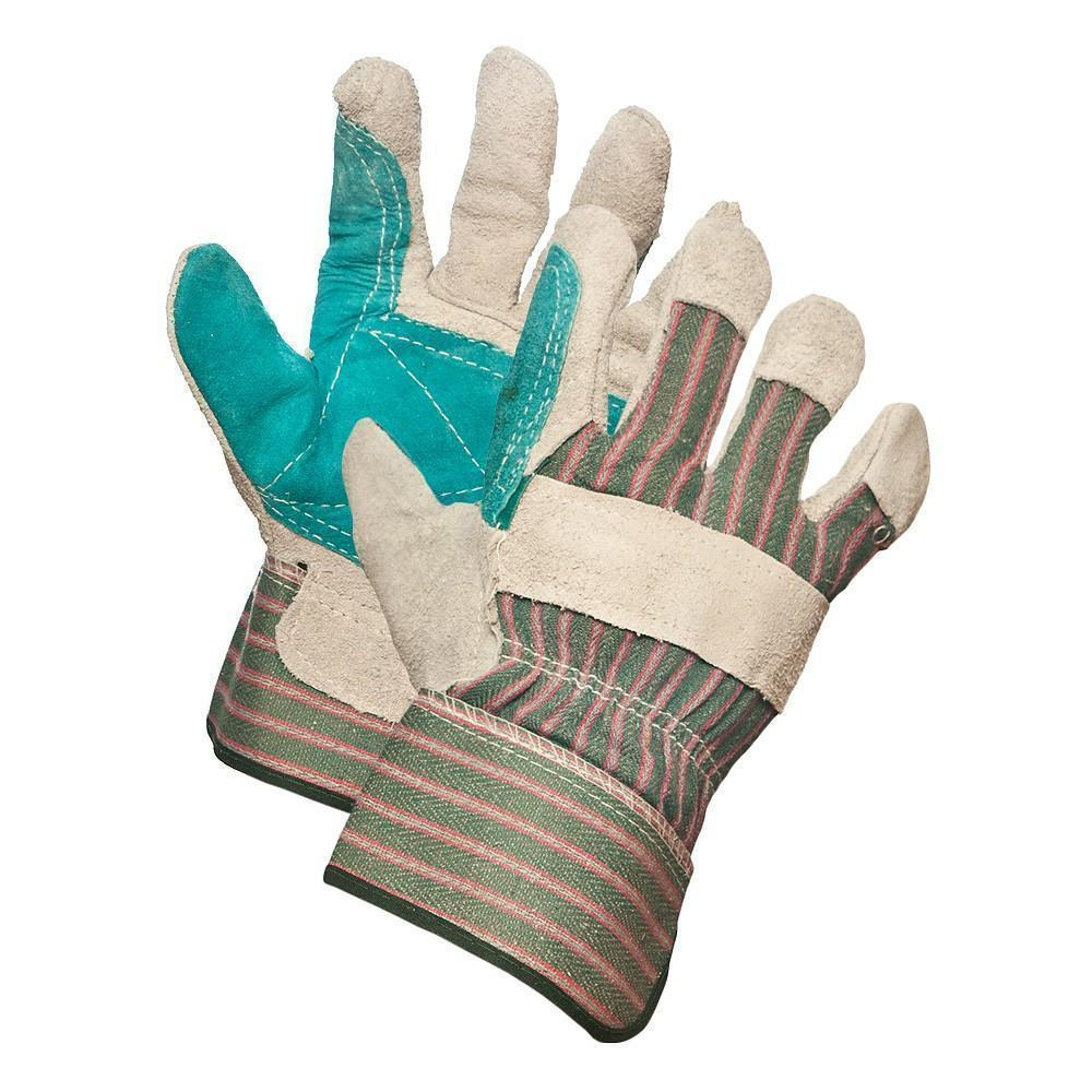 Gloves - Split Leather Double Palm - Grey, 015-02524