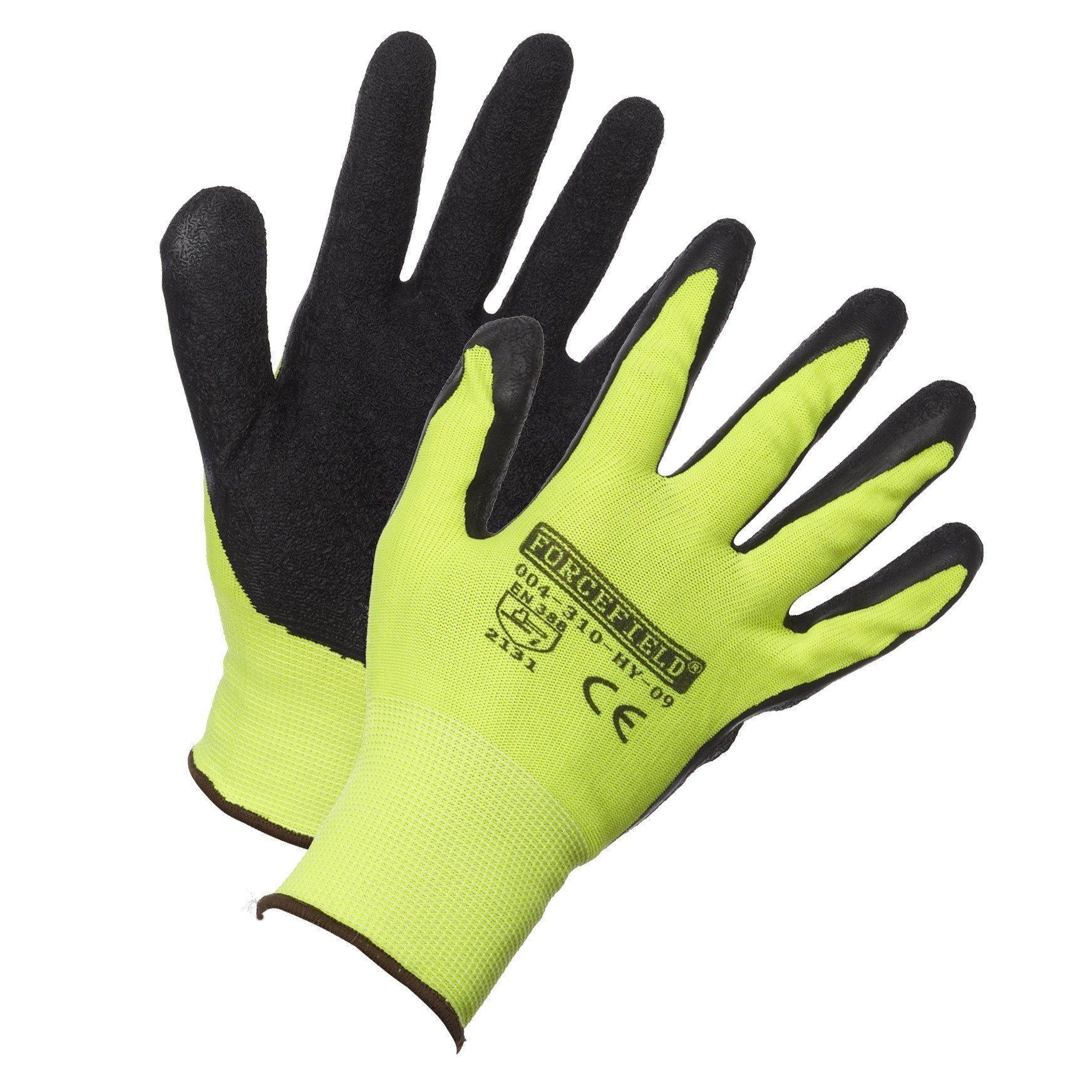 Gloves - Forcefield Hi-Vis Nylon Work Glove, Palm Coated w/Crinkle Latex - YL - L