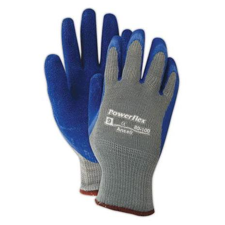 Gloves - String Knit Work Gloves Palm Coated w/Blue Crinkle Latex Latex - XL