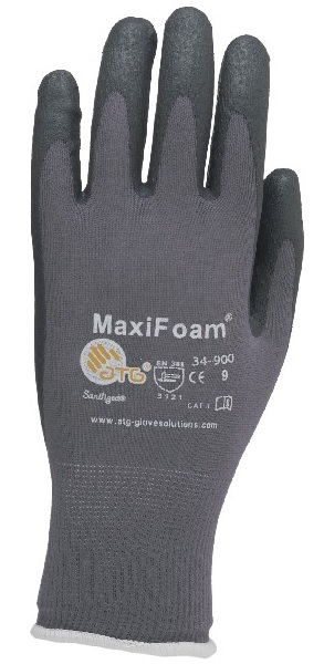 Gloves - MaxiFoam Lite - Grey/Black (Size 9, Large)