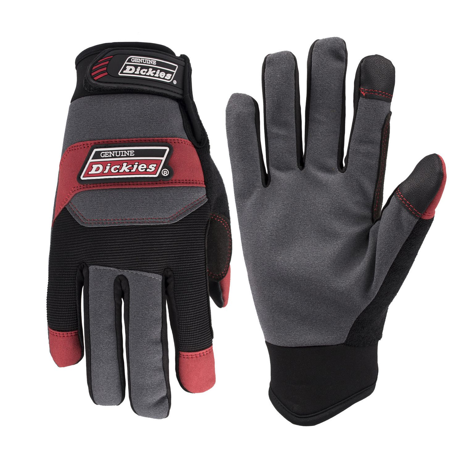 Gloves - Dickies Mechanic Synthetic Leather Glove - Blk/Red - M