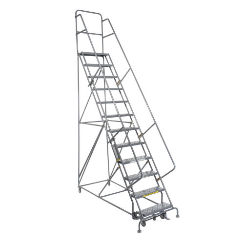 Rolling Ladder - 12 Step - Steel - Perforated 24 W steps