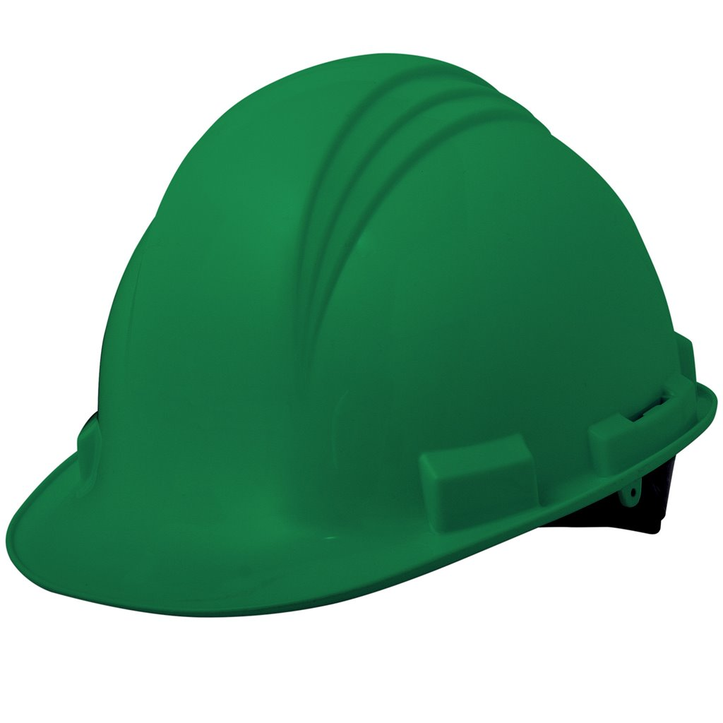 Hard Hat - w/ rachet & rain trough - Green
