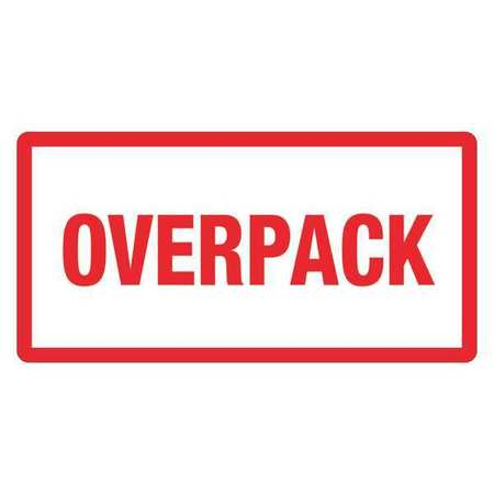 "Labels - Overpack - 2"" x 5"" Butt Cut Red on White (500/roll)"