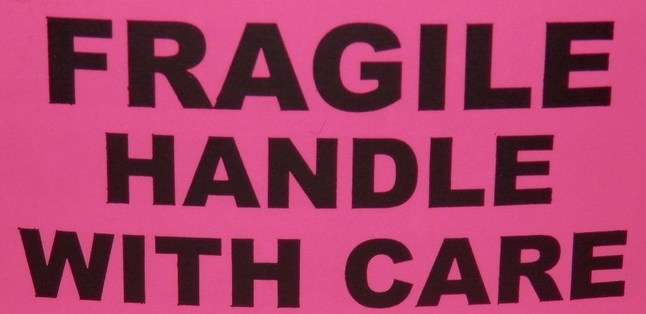 "Labels - Fragile Handle with Care - Fluorescent Pink- 2""x 5"""