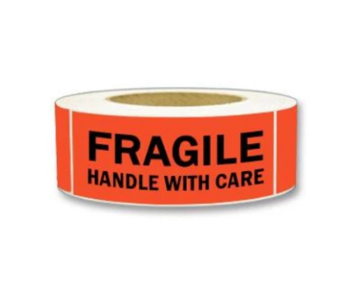 "Labels - Fragile Handle with Care - 2"" x 5"" (500/roll)"