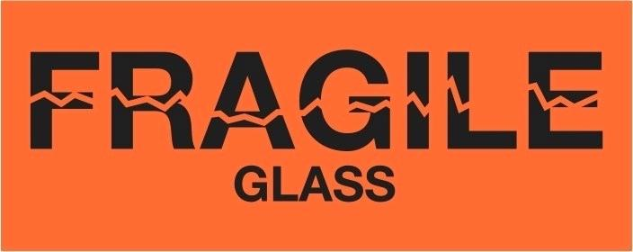 "Labels - Fragile/Glass - 2"" x 5"""