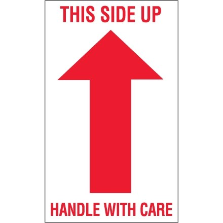 """Labels - This Side Up - 1 Arrow - 3"""" x 4"""""""