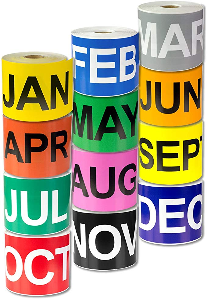 "Labels - Month of Year - Colour - 3"" x 6"" (500/roll)"