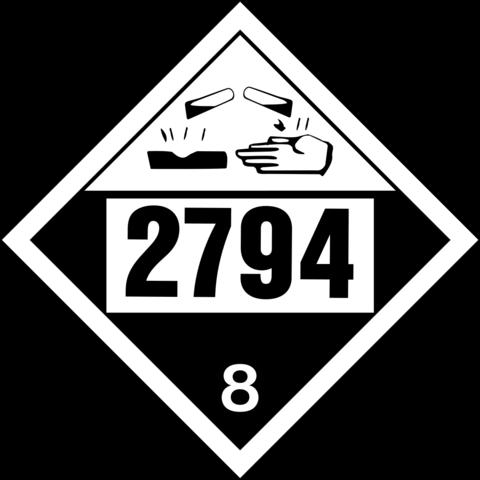 """Labels - Corrosive - Class 8 - UN2794 - Battery- 4.5"""" x 4"""""""