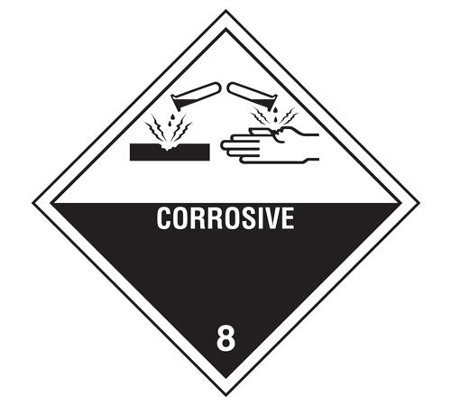 "Labels - Class 8 Corrosive - 4""x 4"""