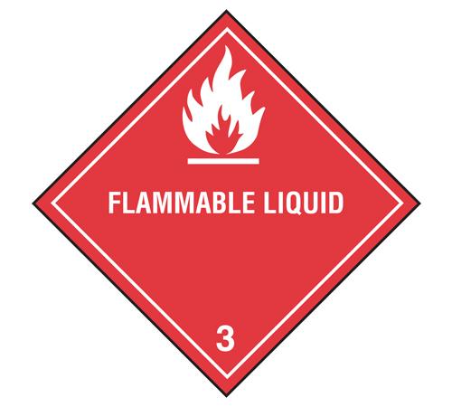 "Labels - Class 3 - Flammable Liquids - 4"" x 4"""