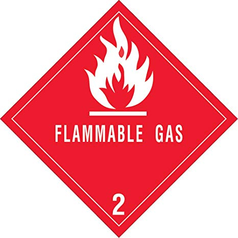 """Labels - Class 2 - Flammable Gases - 4"""" x 4"""" (500/roll)"""