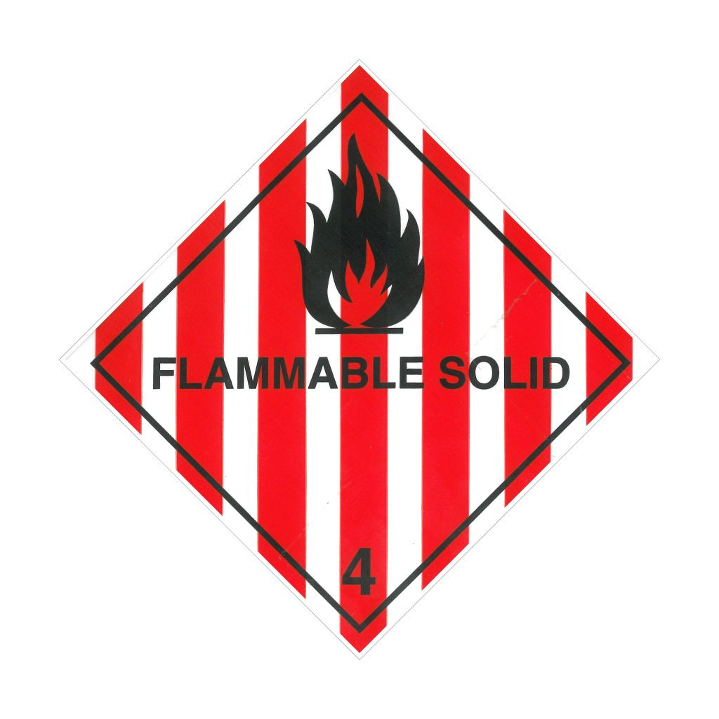 Labels - Class 4.1 - Flammable Solids - Red/White Stripes