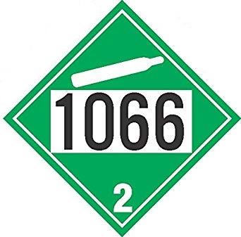 Placard - Class 2.2 - UN1066 - Green (100/pack)
