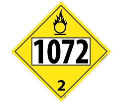 Placard - Class 2.2 - UN1072 - Yellow (100/pack)