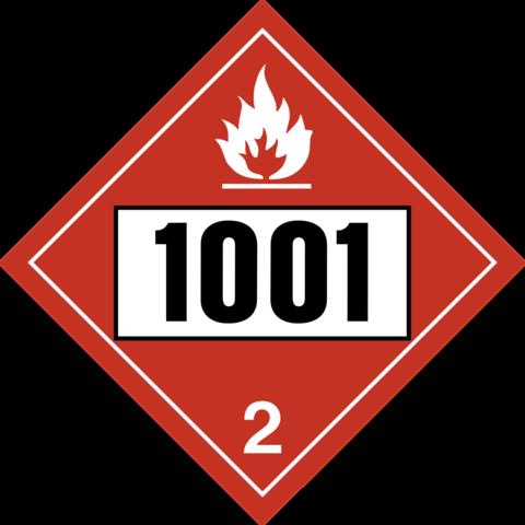 Placard - Class 2 - Red- UN 1001