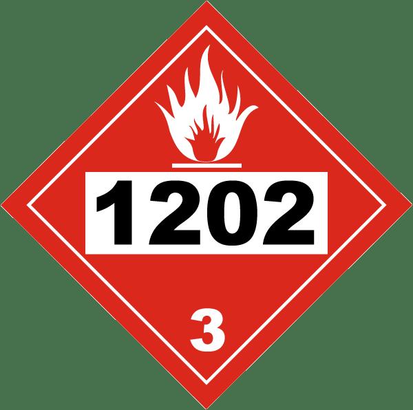 Placard - Class 3 - UN #1202 - Peel & Stick (100/pack)