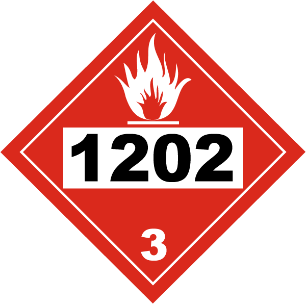 Placard - Class 3 - UN #1202 - Peel & Stick