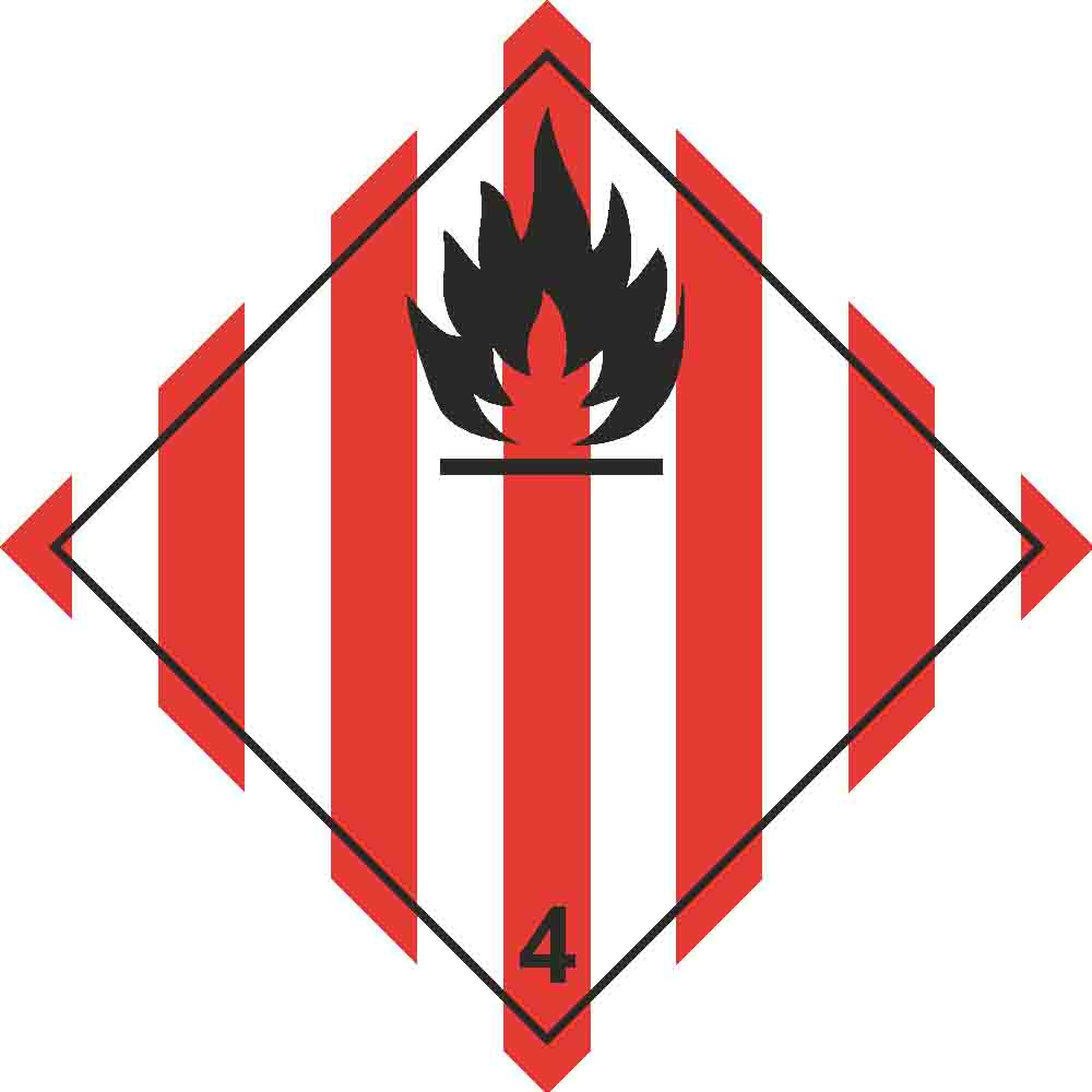 Placard - Class 4.1 - Flammable Solids - Red/White Stripes (100/pack)