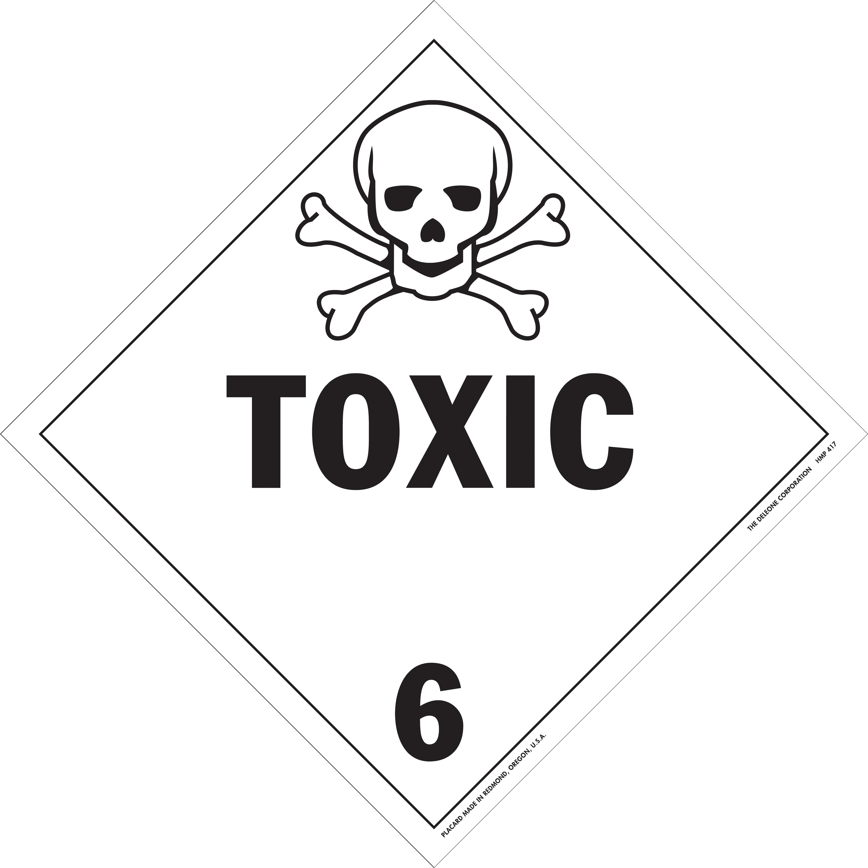 Placard - Class 6 - Toxic Substances (100/pack)