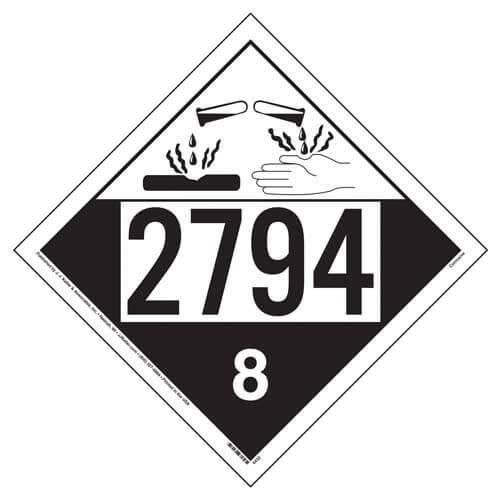 Placard - Class 8 - UN 2794 - Tagboard (100/pack)
