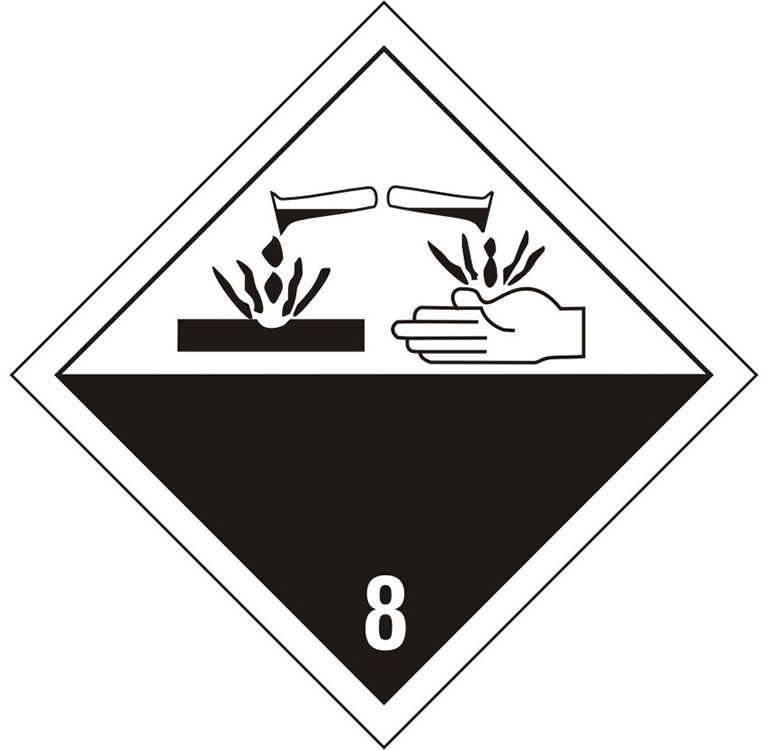 Placard - Class 8 - Corrosive (100/pack)