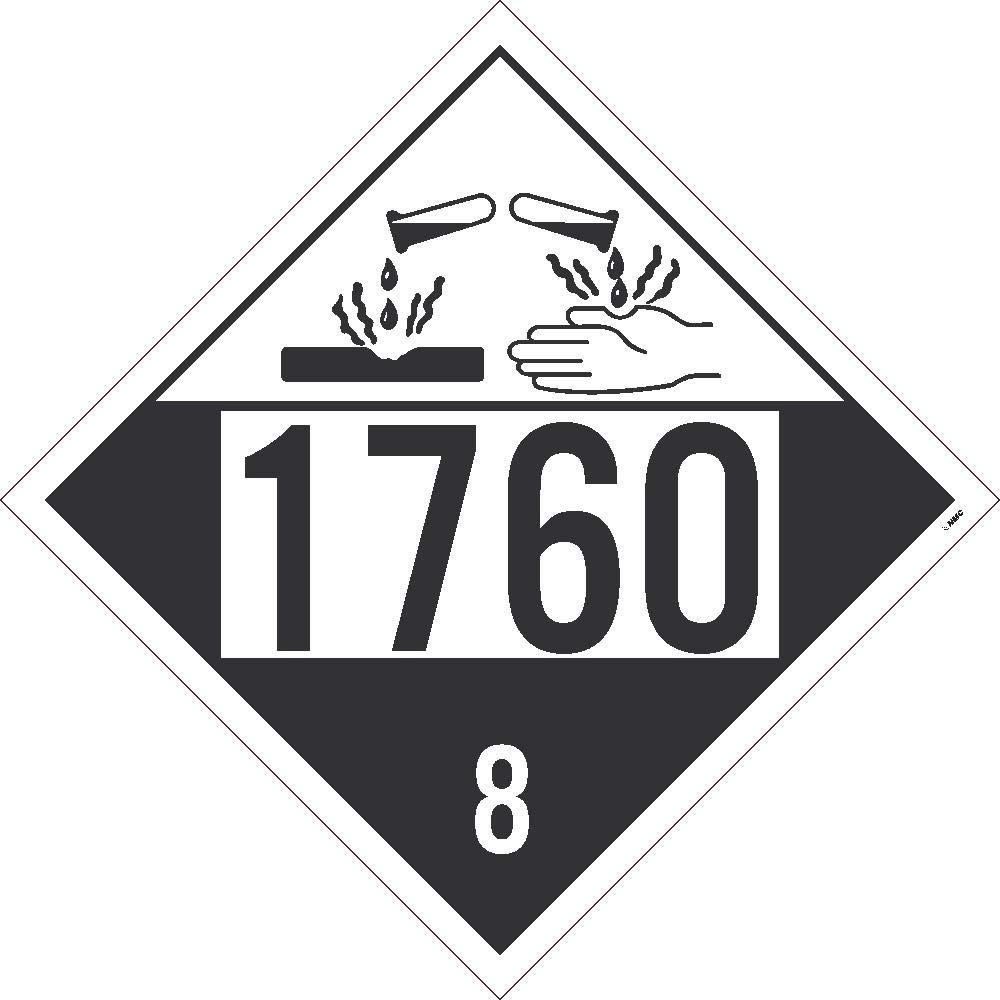 Placard - Class 8 - UN1760 - Adhesive Vinyl (100/pack)