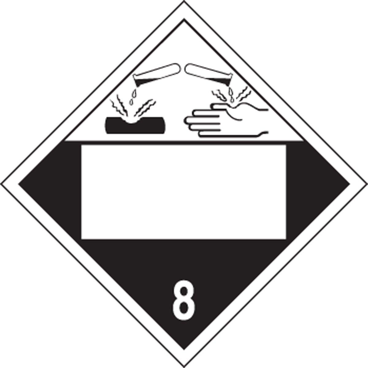 Placard - Class 8 - Corrosive - Editable (50/pack)