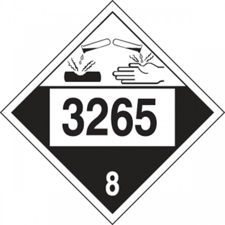 Placard - Class 8 - UN3265