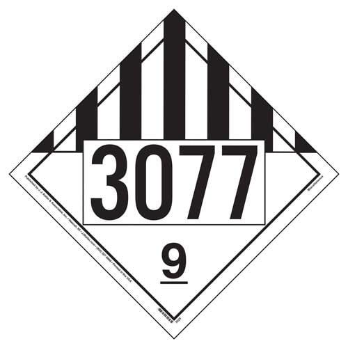 Placard - Class 9 - UN3077