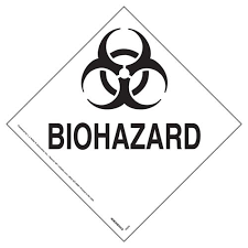 Placard - Biohazard - Peel and Stick (100/pack)