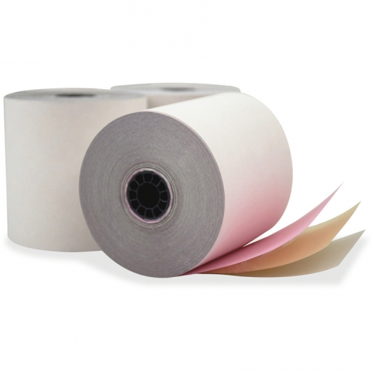 """3 Ply Paper Roll - Yellow/White/Pink - 3""""x 3"""" (50 rolls/box)"""