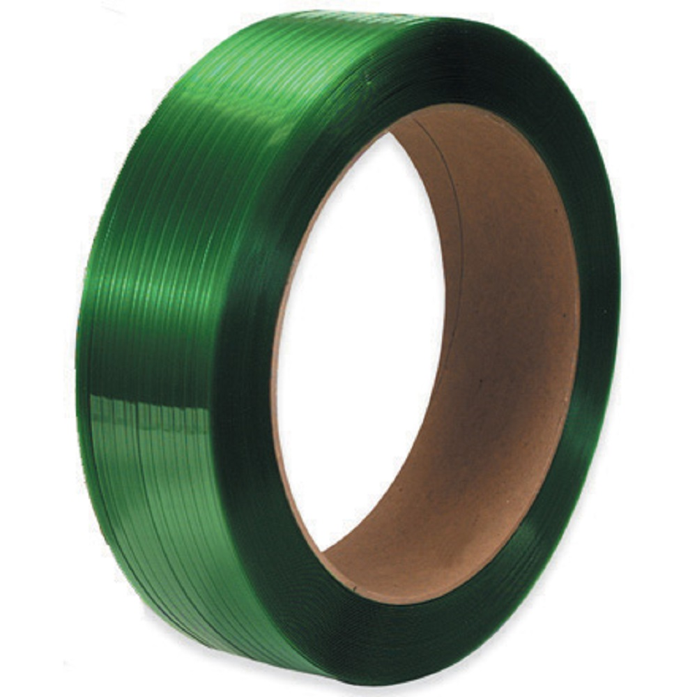 """Poly Strapping - 5/8"""" x .040 x 4000' x 1600lb TS - 16"""" x 6"""" Core - Green, Embossed"""