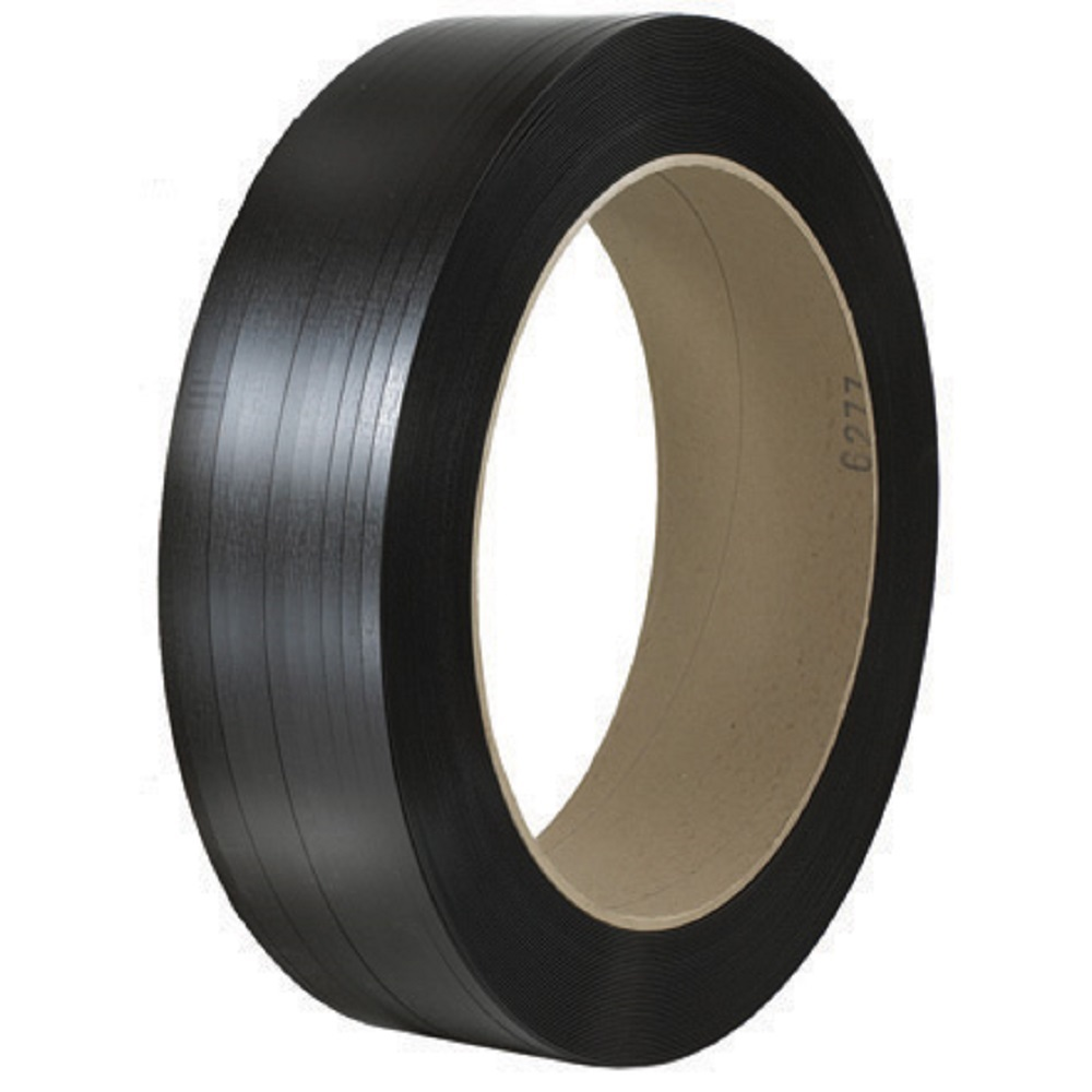 """Polyester Strapping - 7/16"""" x 8,000' x 500lb TS - 16"""" x 6"""" Core - Blk, Sig Equiv."""
