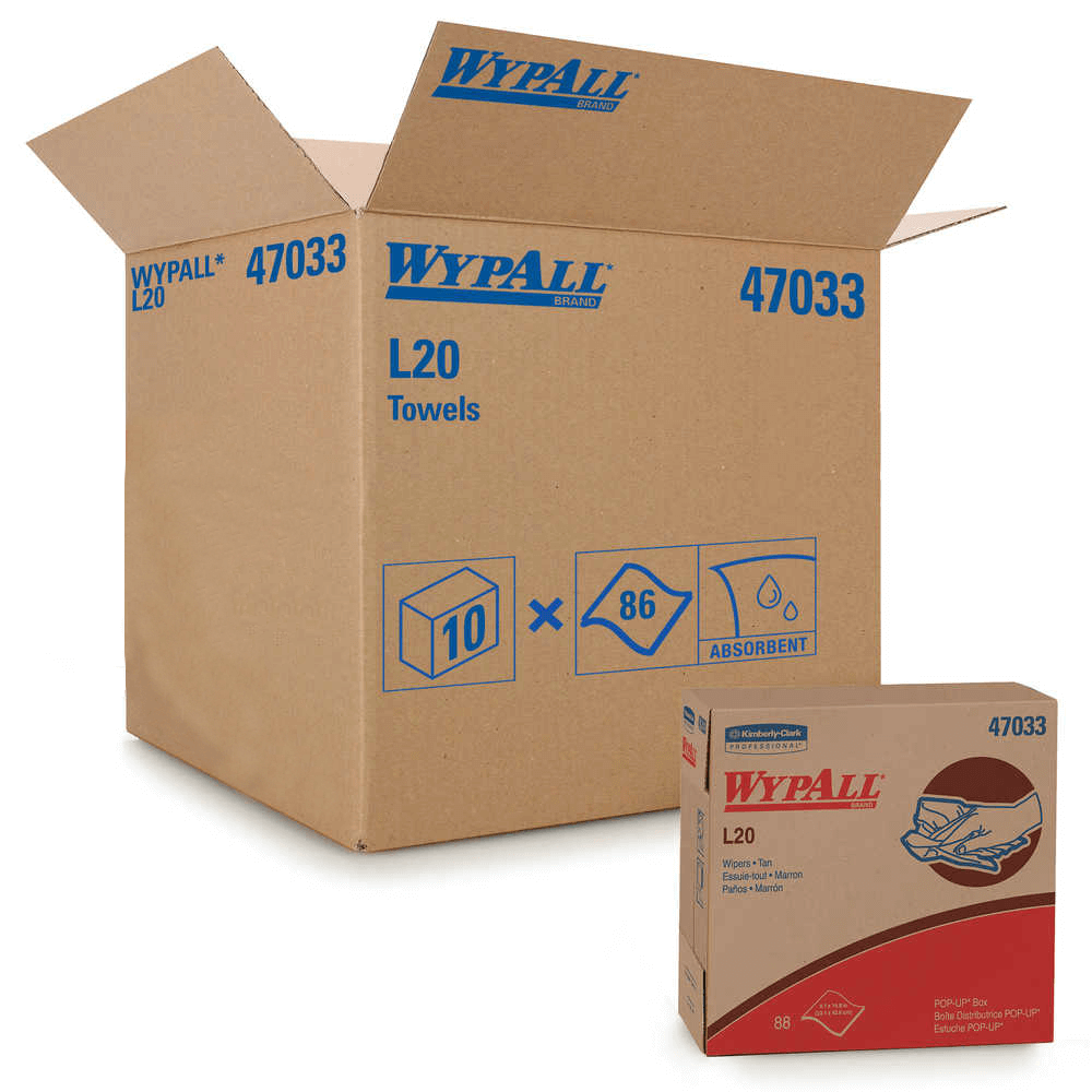 Wypall L20 - Popup Tan (10/cs), Product#: 47033
