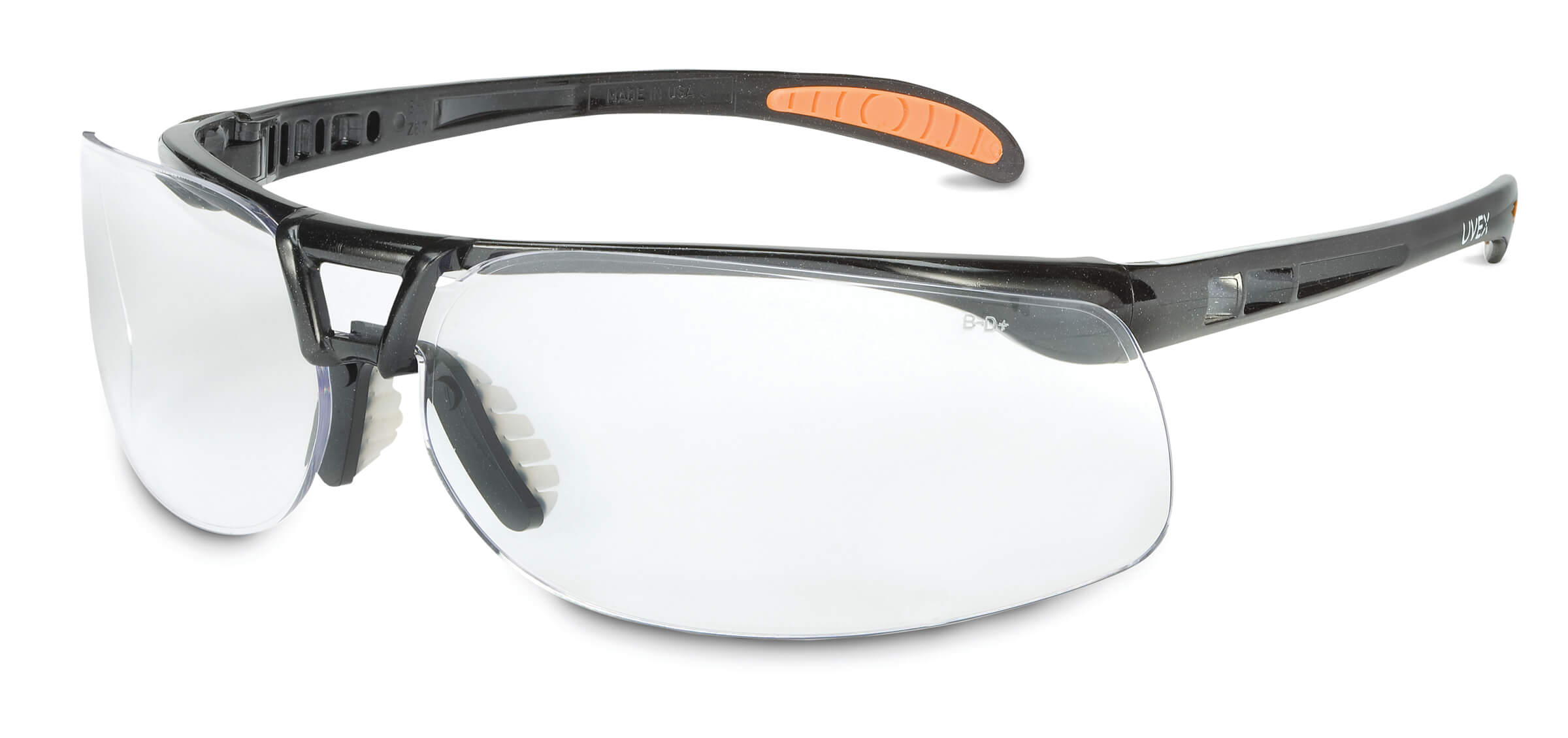 Safety Glasses - Uvex Protégé Black Frame flexible nose piec