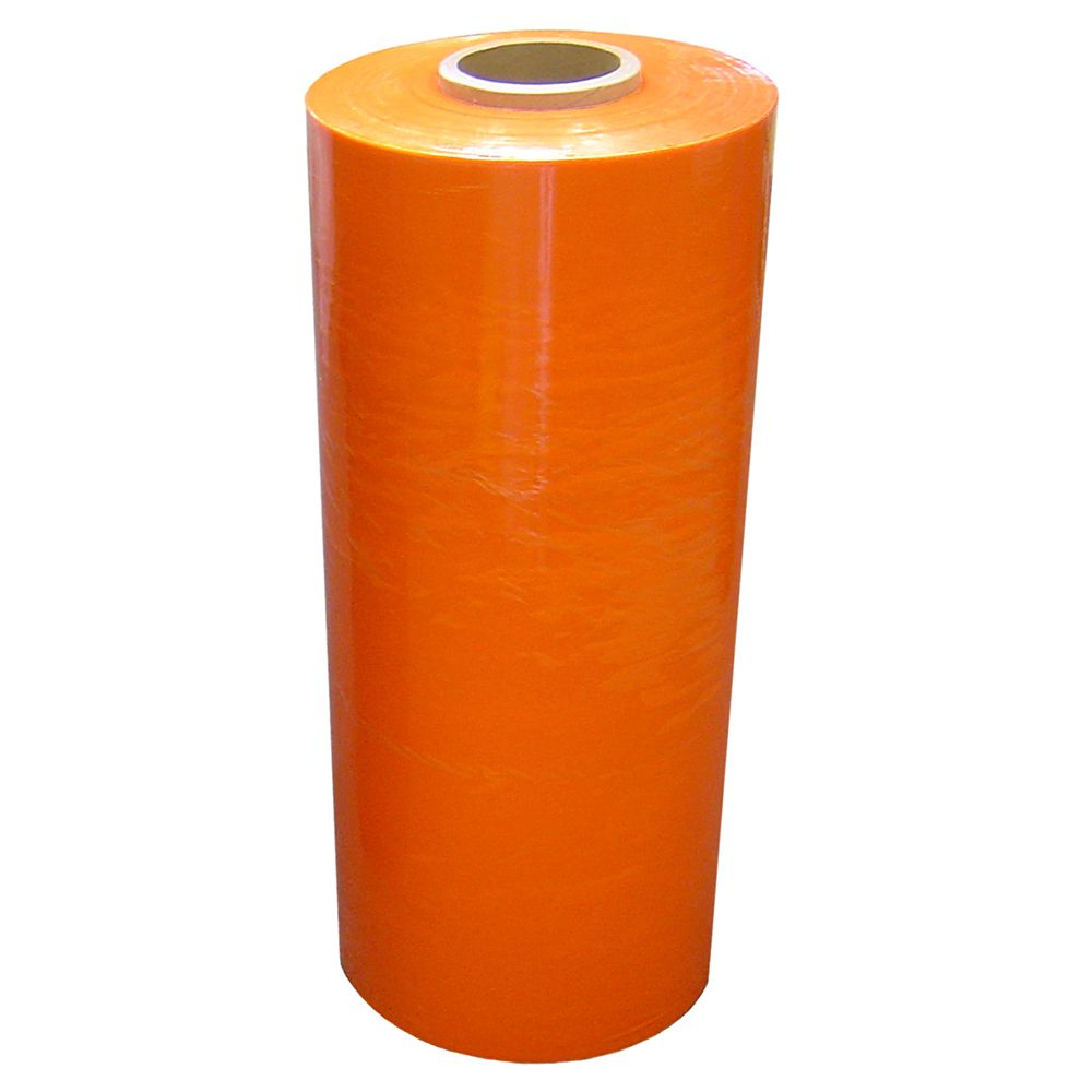 "Hand Stretch Film - Orange - Blown Film - 18"" x 1500' -80 ga"