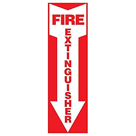 Vinyl Sign - Fire Extinguisher Arrow - Self-Adhesive