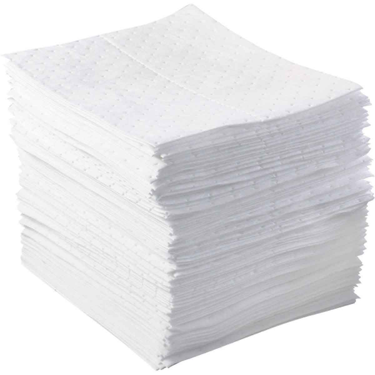 """Absorbent Spill Pads - Oil Only - 15 """"x 17"""" - White (100/bundle)"""