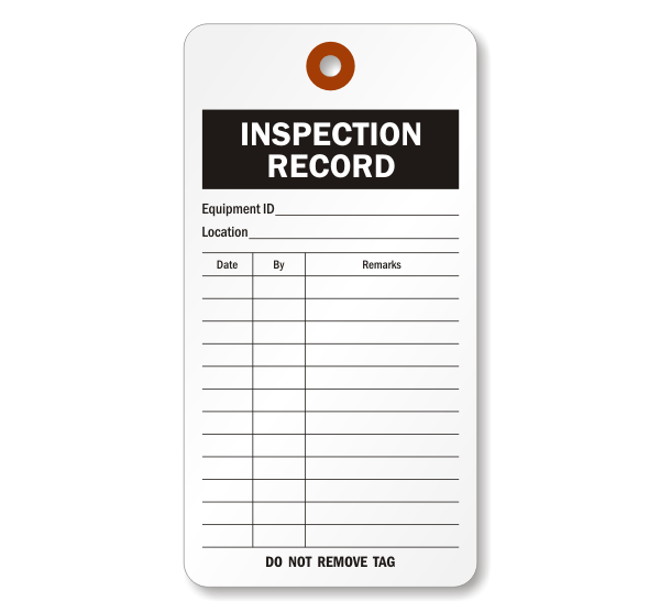 "Inspection Record Tags - 3 1/8"" x 5 7/8"" (25 per pack)"